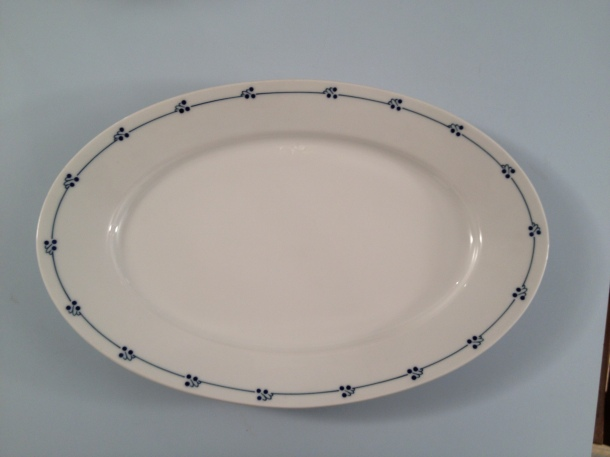 From the Saginaw Antique Warehouse, a huge Saxony platter with plenty of  white  to regally present any food and a bit of blue trim to keep me happy!