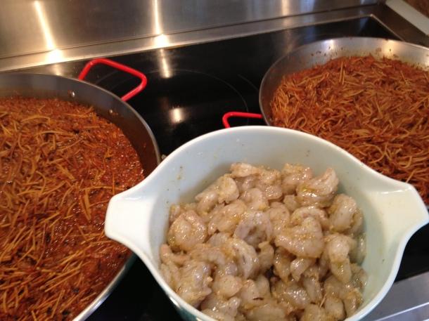 Add the shrimp marinated in garlic, olive oil & salt