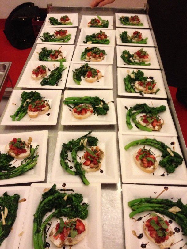 Rapini served with Strawberry Goat Cheese Crostini