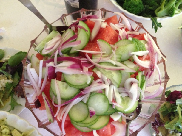 Watermelon, Cucumber and Red Onion, Layered and Drizzled with a Lemony Marinade