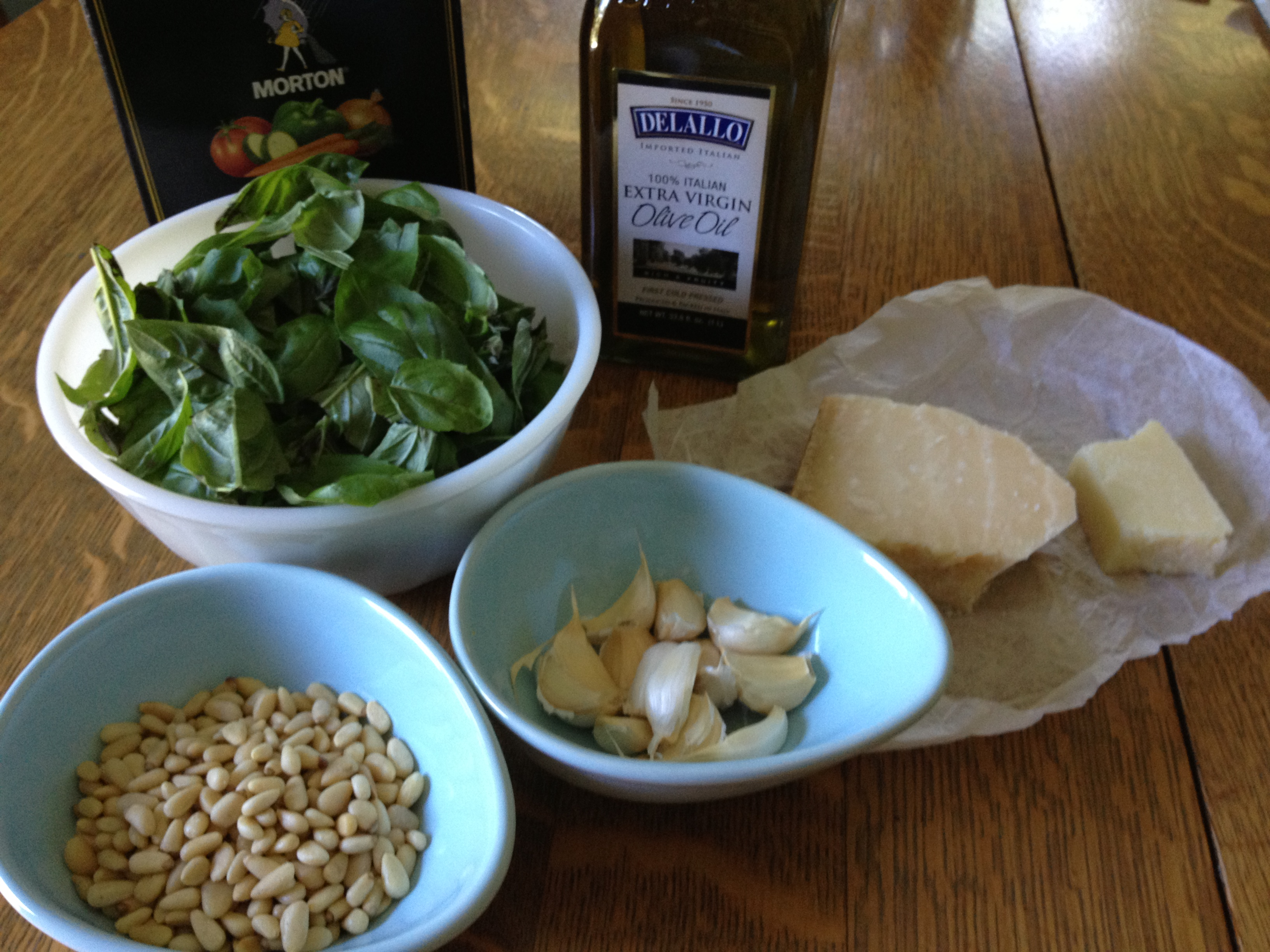 All the ingredients you need to make pesto!
