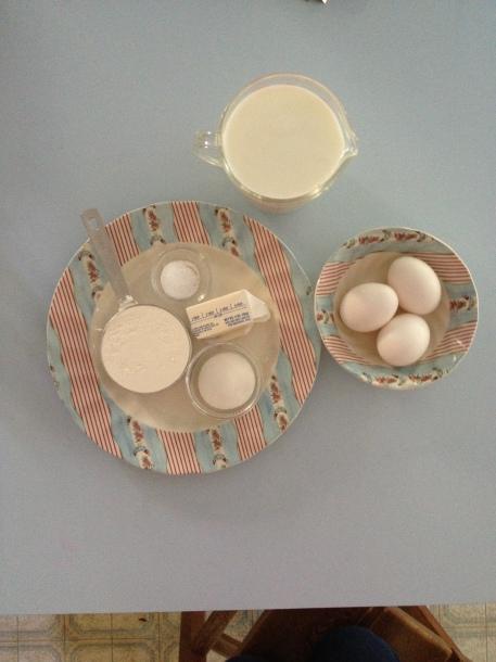 3 Eggs, 2 Cups Milk, 1 Cup Flour plus.....