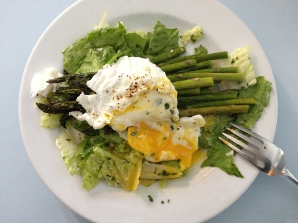 Roasted Asparagus and Romaine Salad with Poached Egg