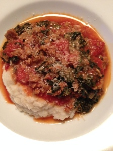 Sausage and Kale with Cauliflower Mash and Romano Cheese