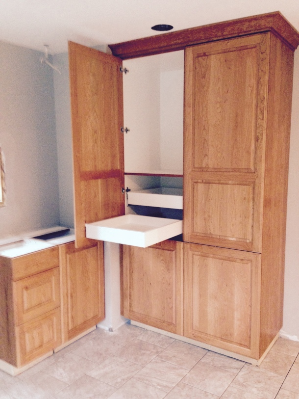 Pantry with soft close pull out drawers