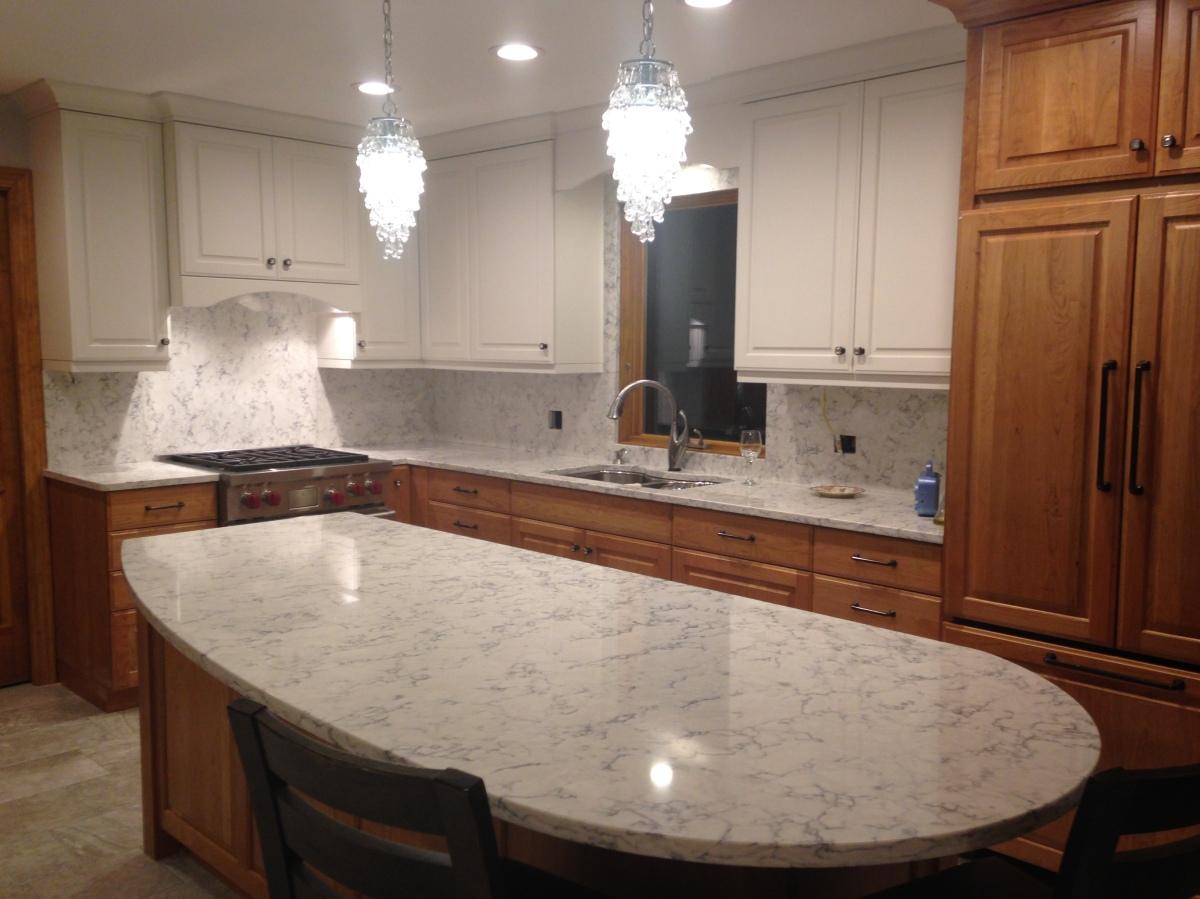 My Kitchen Re Do Quartz Backsplash Nina In The Kitchen