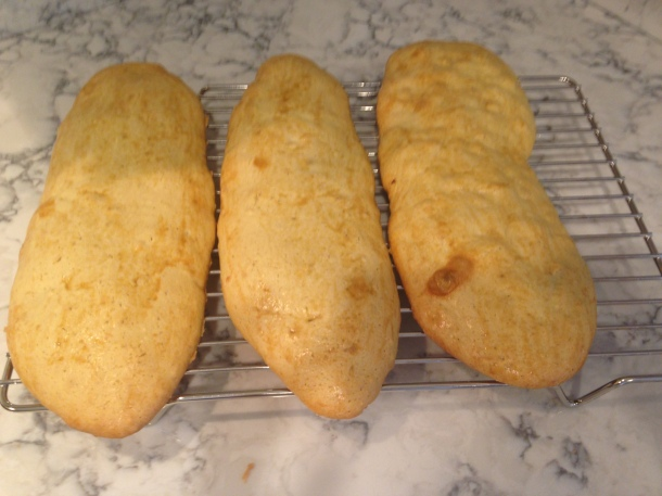 Baked loaves of biscotti