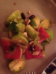 Brussels Sprout Salad with Watermelon Radish, Walnuts and Cranberries