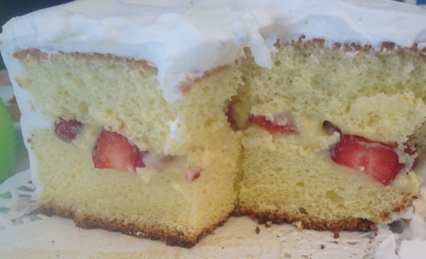 French Pastry Cake with Soft French Custard and Fresh Strawberry Filling