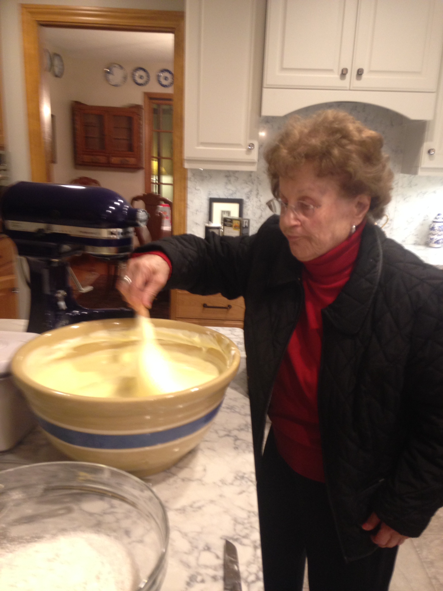 Sonia Sanders folding the flour into the cake