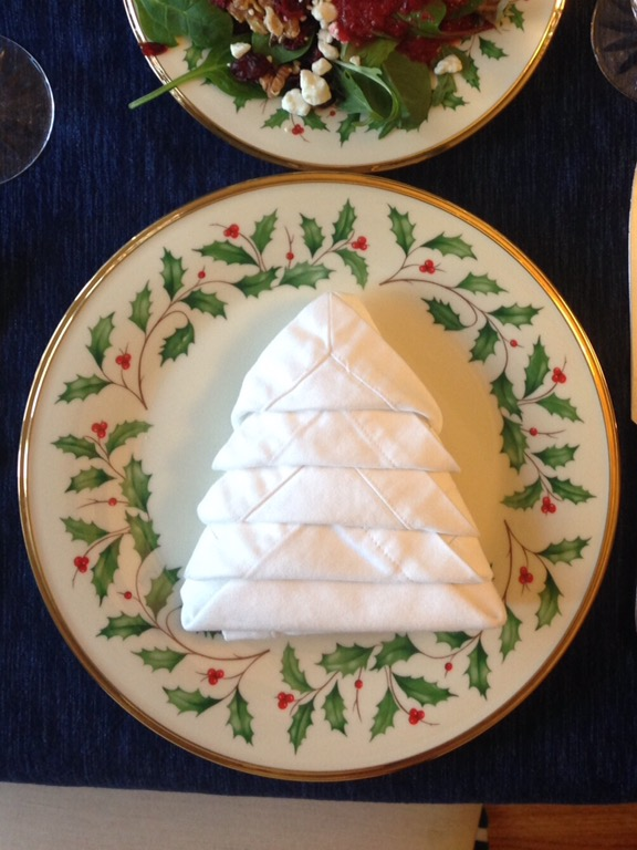 here is an easy and very effective fun napkin fold for the holidays any color napkin works