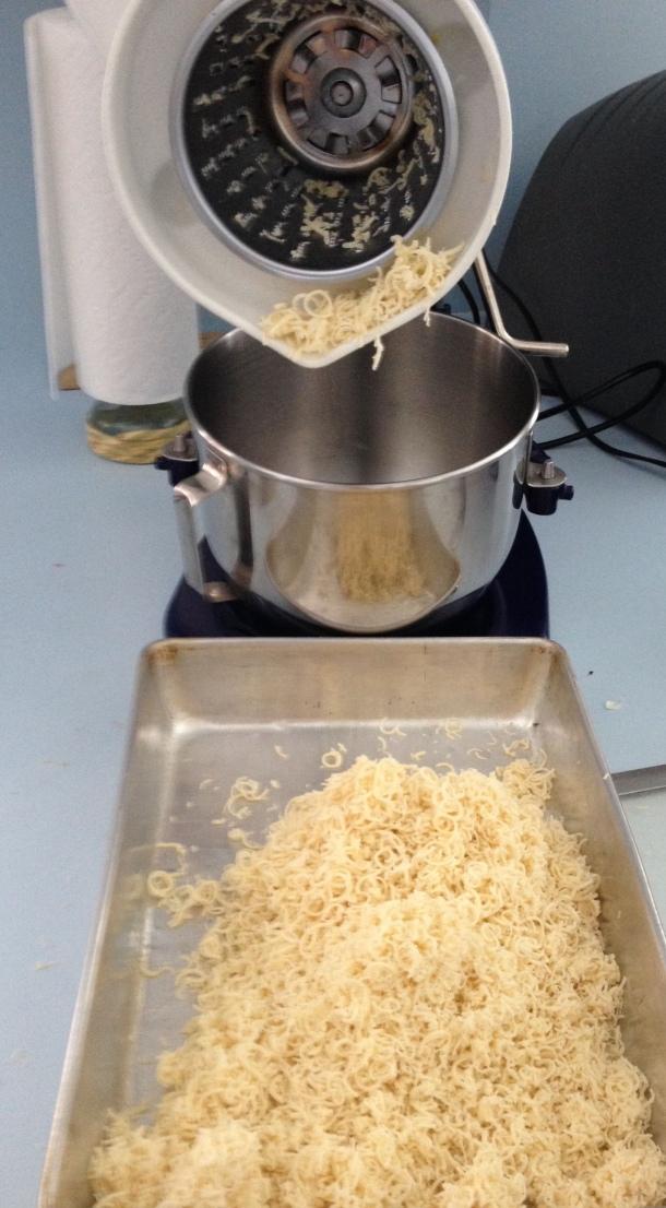 Grating Half the Dough into the Baking Pan